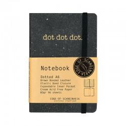 Läder Notebook A6 Dot. Svart
