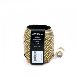 Presentband guld/svart 30m