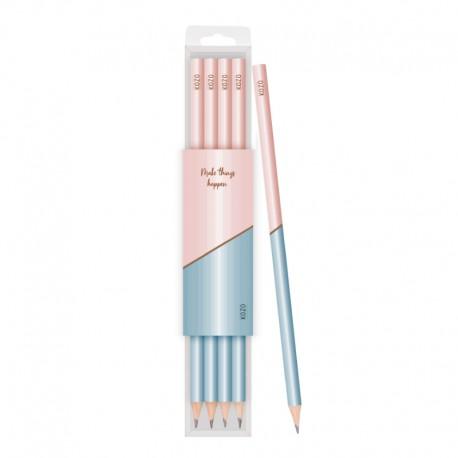 KOZO Pencils, 4-pack,Pink/blue