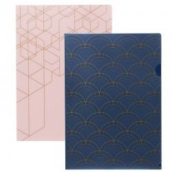 KOZO 2 x L Folder, Navy/Pink